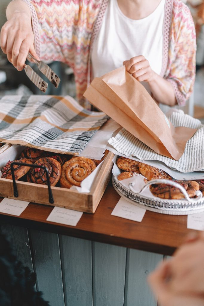 Selling food at a bakery