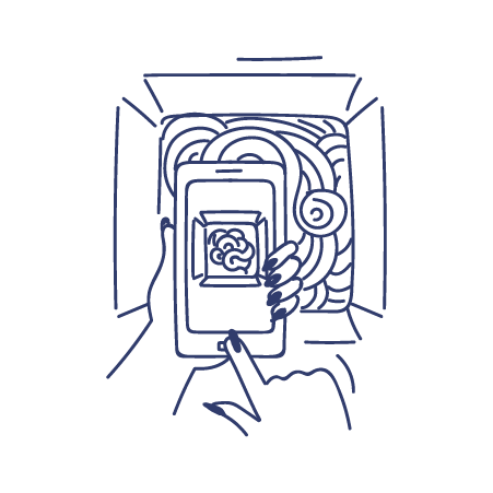 Illustration of person taking photo of takeaway food